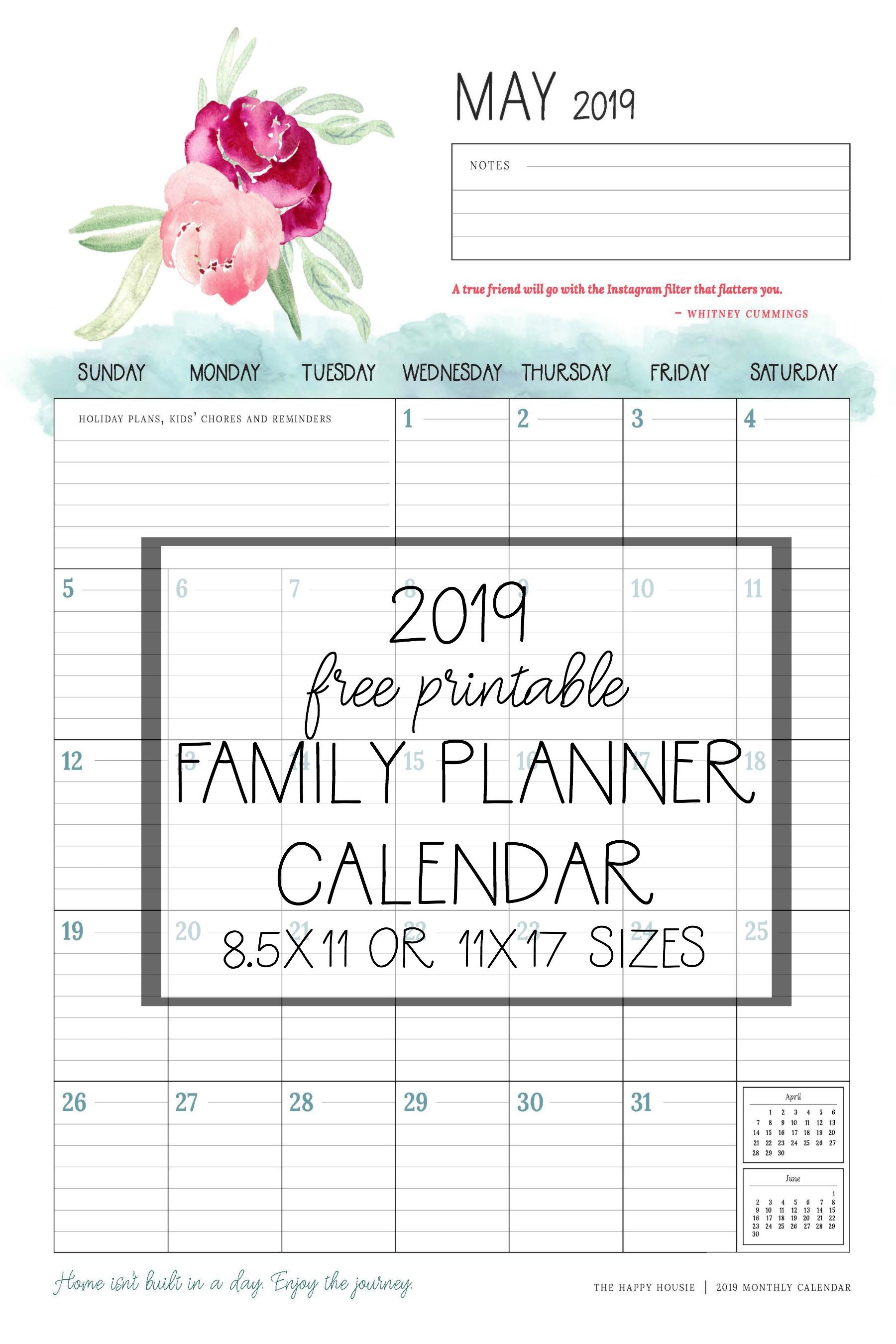 Free Printable Calendar Family Planner Organizer
