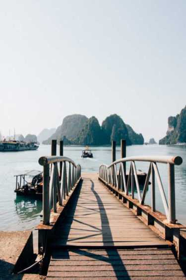 Gangway to boats in Halong Bay Vietnam