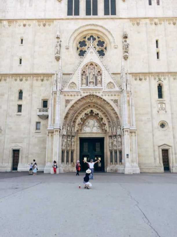 Entrance of the cathedral in Zagreb, Croatia