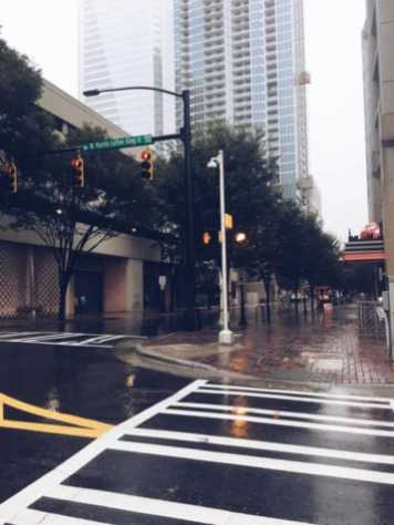 street in charlotte during hurricane matthew