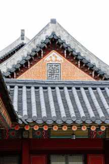 Dächer, chinesischer Stil, im Gyeongbokgung Palast, Seoul, Korea