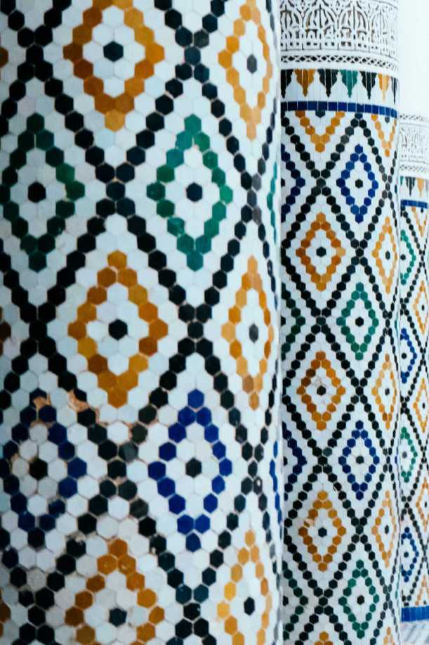 zwei Säulen mit Mosaik Musée de Marrakech