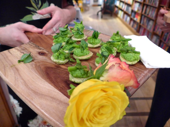 Acts of Love Talulah Riley Book launch canapes in Daunt Books