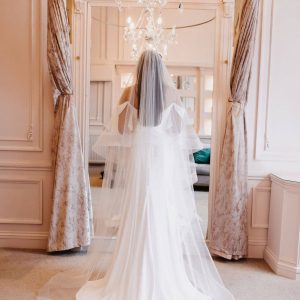 """The gorgeous Athena 2 tier classic tulle with 3"""" horsehair marie trim is perfect for any bride. Click to shop now."""