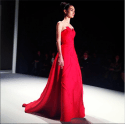 A to-die-for red gown from Carolina Herrera's F/W collection. Photo via InStyle's Instagram.