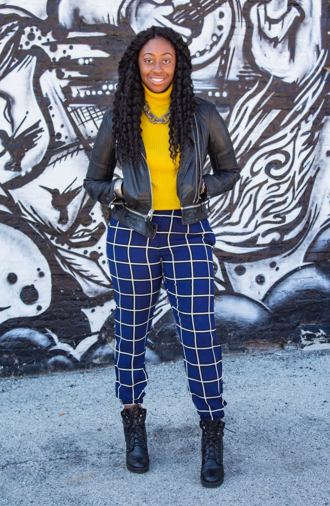 Girl-Leather jacket-Blue-Plaid Pants-Boots