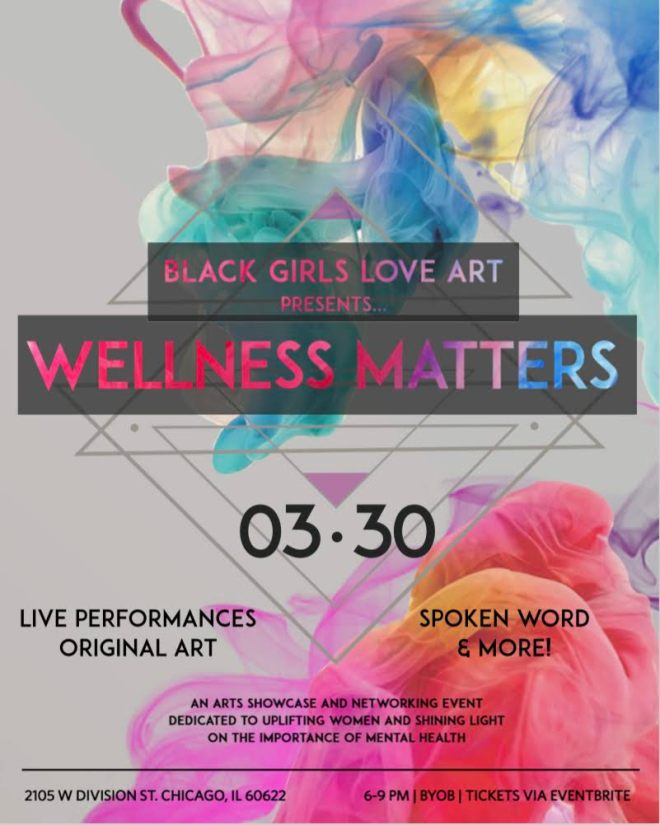 Colorful event description by Black Girls Love Art for a wellness event featured in ways to celebrate Women's History Month in Chicago on The Haute Seeker