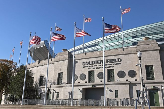Outside of Soldier Field Stadium. Image featured on The Haute Seeker list of cool and cheap things to do on a weekday in chicago