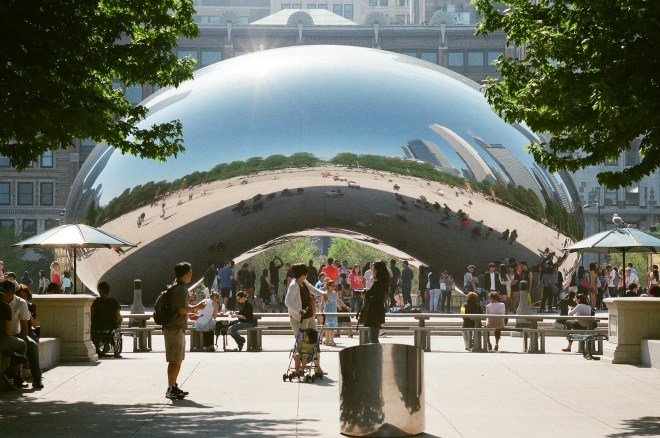 "Cloud Gate also known as ""The Bean"" located in Millennium Park in Chicago. Photo taken by Taylor Justin The Haute Seeker"