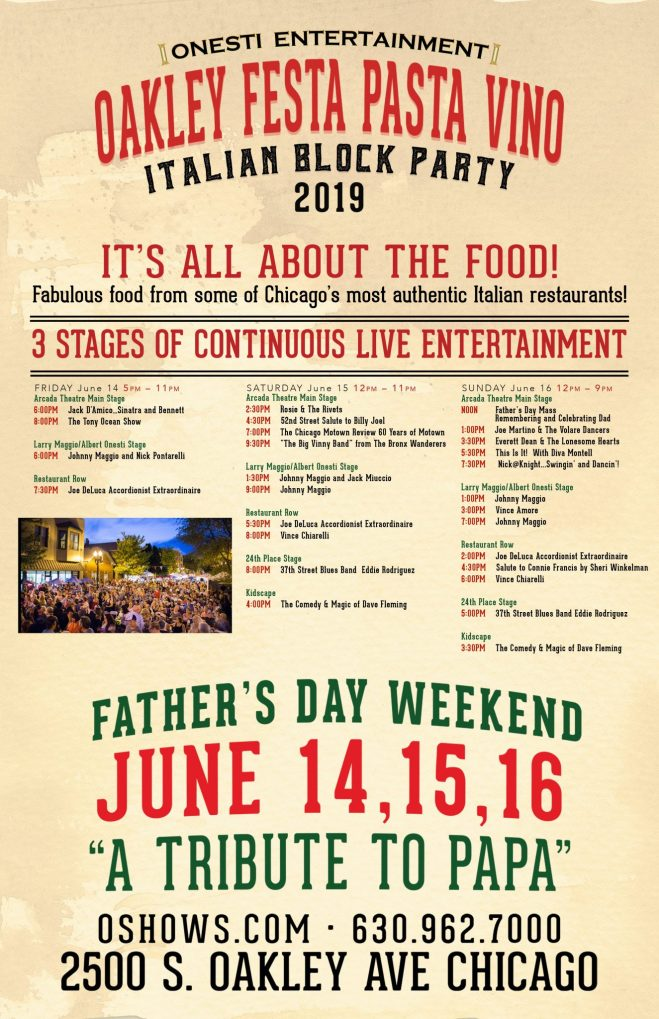 Festa Pasta Vino flyer as featured in The Haute Seekers guide to Father's Day events in Chicago