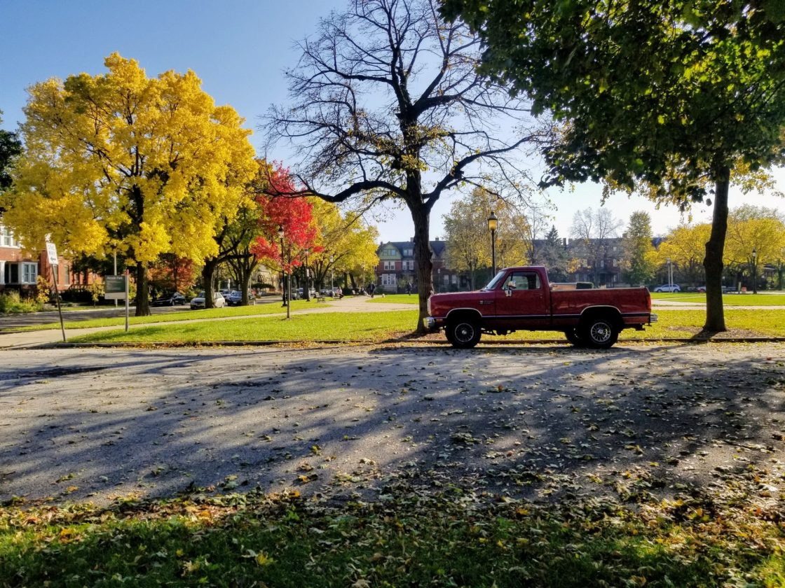 Trees in the fall and a red truck in Chicago
