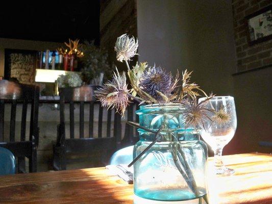 Sea Thistles in a blue mason jar