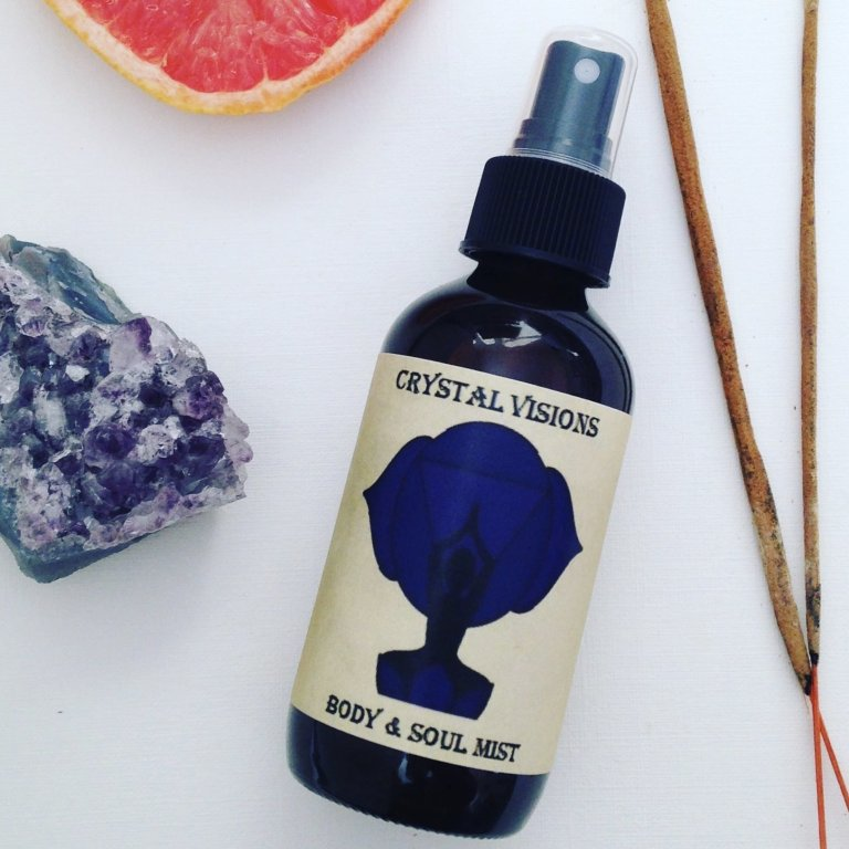 bottle of third eye chakra mist crystal visions