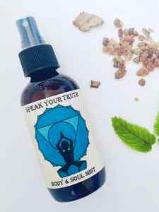 bottle of throat chakra mist speak your truth