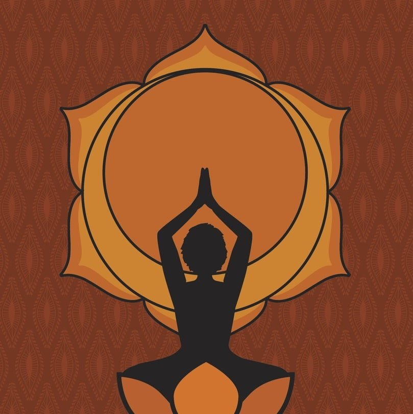 woman practicing yoga in front of sacral chakra symbol