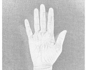 sketch of hand having the air sign in palminstry