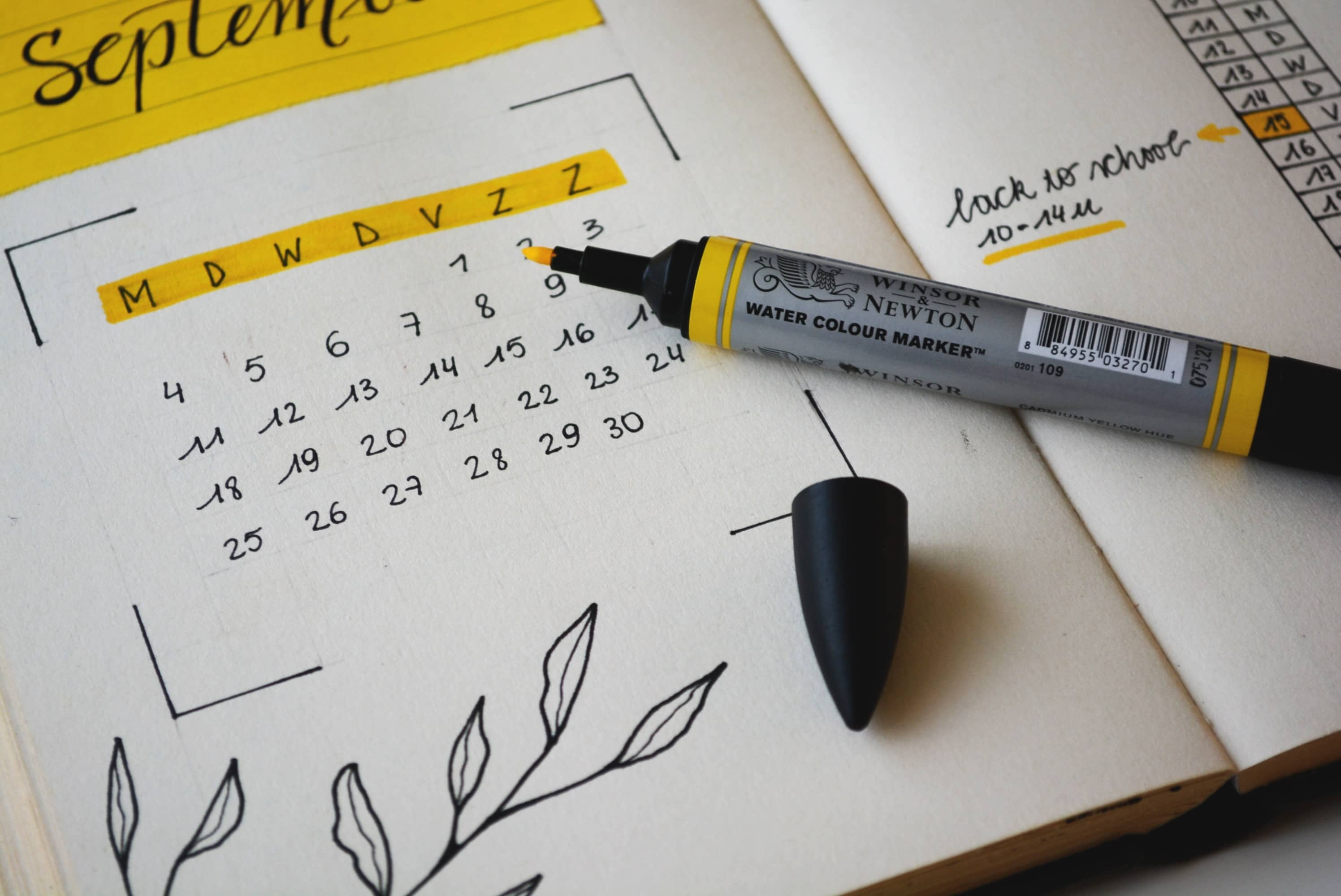 2021 calendar and yellow highlighter