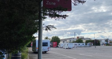 Travellers arrive at Gallows Corner Tesco car park.