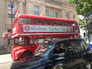 Afternoon tea on a bus? I am sure that all Londoners do this ...
