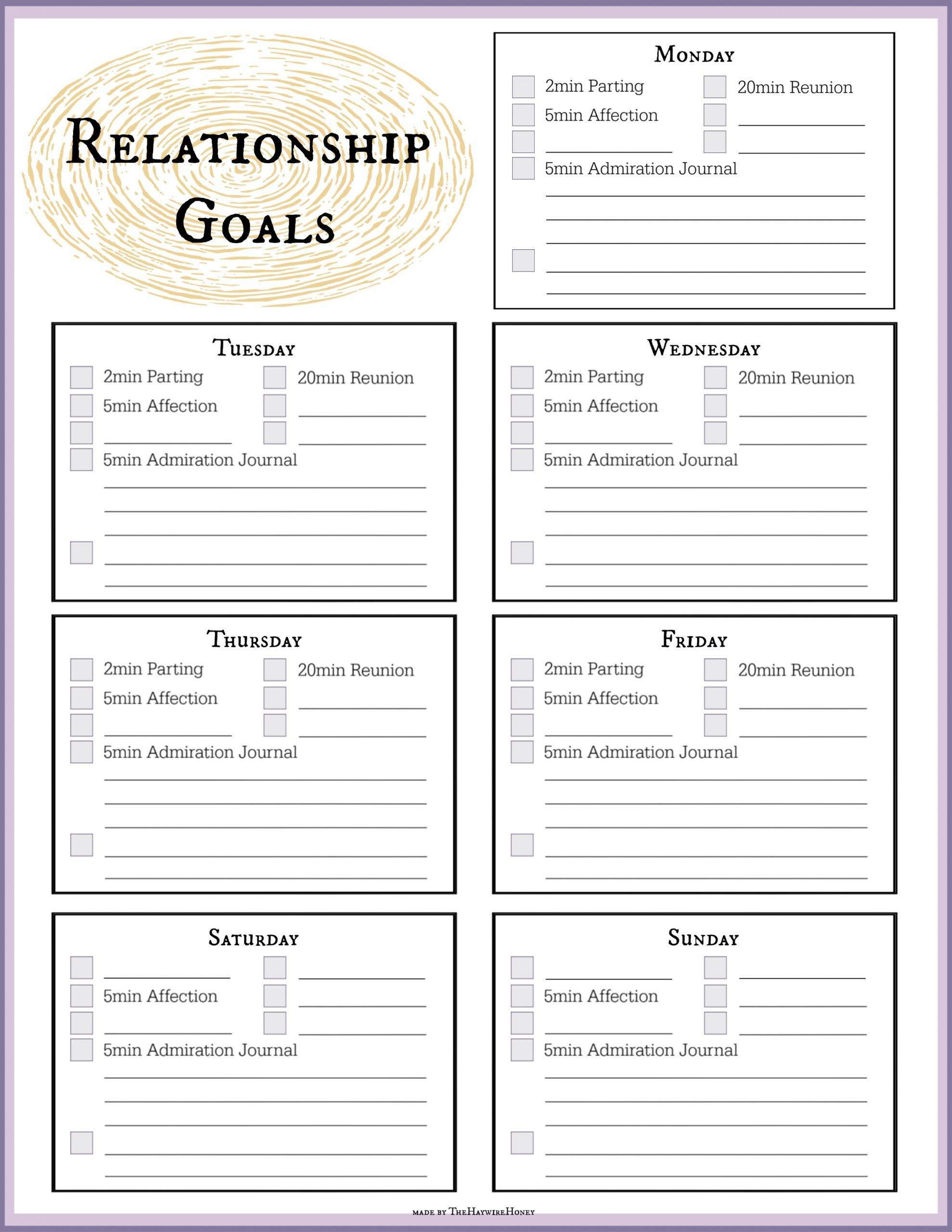 Worksheet To Track Tasks For Relationship Goals