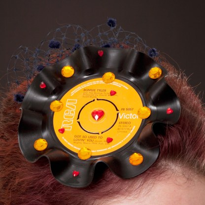Bonnie Tyler inspired record fascinator
