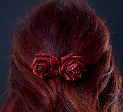Glitter red rose clip for hair