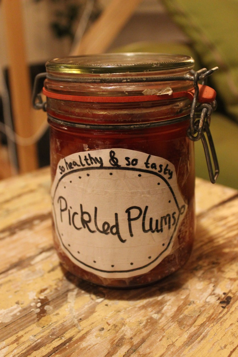 a jar of pickled plums