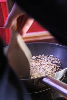 making the pesto