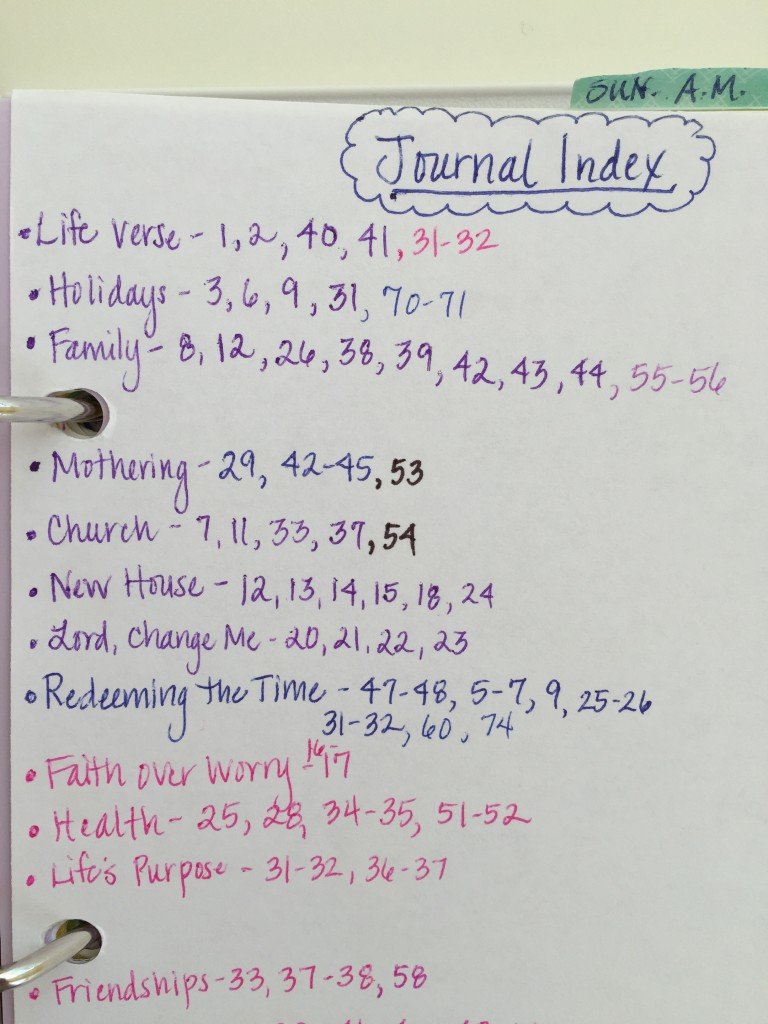On the back page of this section I keep a topical index of my journal entries. This helps me find them easily so I can review them often.