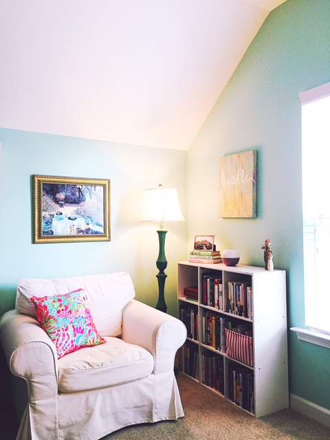 ... Cute Throw Pillow (from Lilly Pulitzer), Good Lighting (lamp From  Kirklands), And Of Course, Plenty Of Books! Itu0027s What I Love!