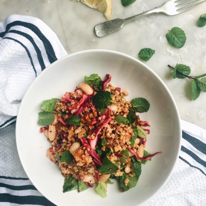 Mixed grain bowl with gochujang dressing 3