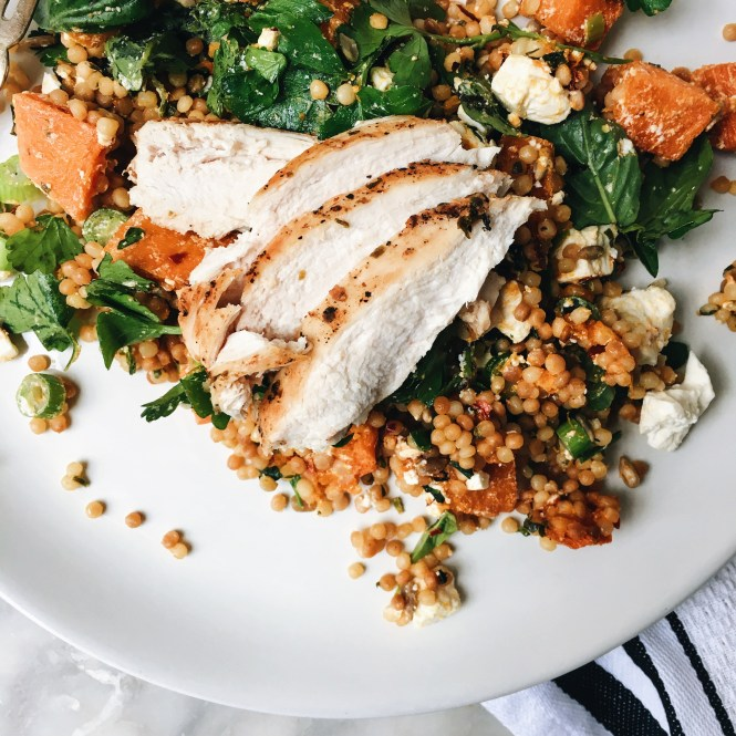 GRILLED CHICKEN BREAST WITH PEARL COUSCOUS, FETA AND CHILLI PUMPKIN SALAD 3