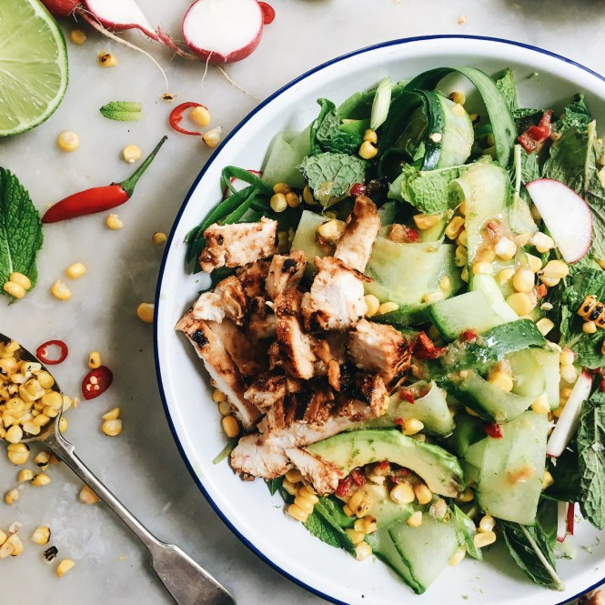 CUCUMBER, CORN AND AVOCADO SALAD WITH MISO MARINATED CHICKEN 4