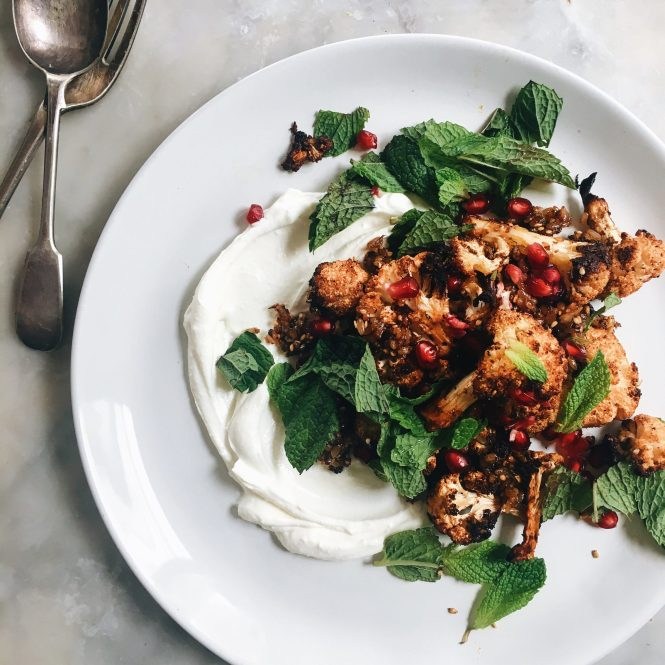 ZA'ATAR ROASTED CAULIFLOWER WITH SPICED RICE, MINT, POMEGRANATE AND LABNEH 4