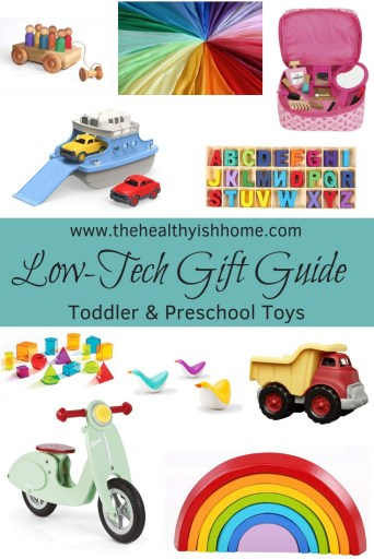 In our house low tech toys are the way to go! I believe they inspire a child's imagination and allows them to be more creative than a toy that flashes and makes noise. This gift guide was inspired by my daughter who is currently 20 months old
