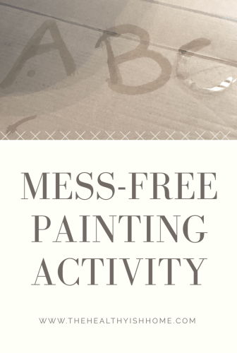 While I love that she loves painting I do not always love to clean it up after.  Painting with water makes mom and child both very happy. She is still improving her fine motor skills and her love of painting while I do not have to clean up a bunch of paint. #messfreeactivity #painting #toddleractivity #childleadlearning
