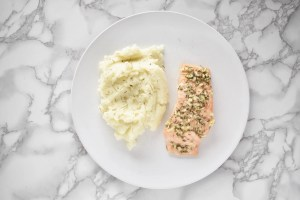 Keto Garlic Butter Salmon with Mashed Cauliflower