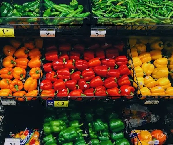 bell peppers at the market