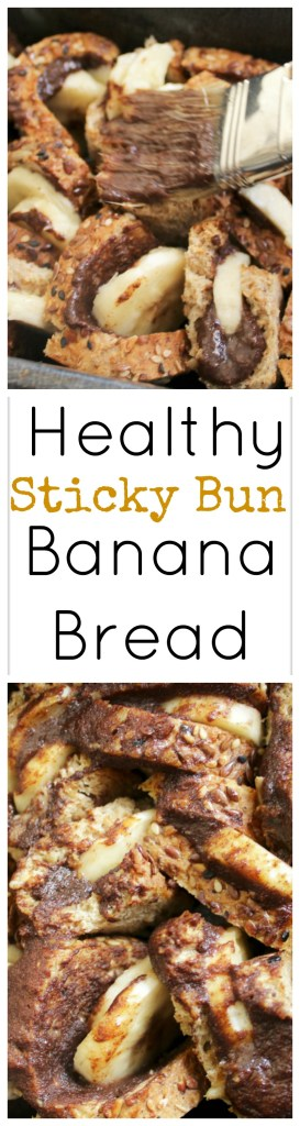 Healthy Sticky Bun Banana Bread, ready in 20 minutes!