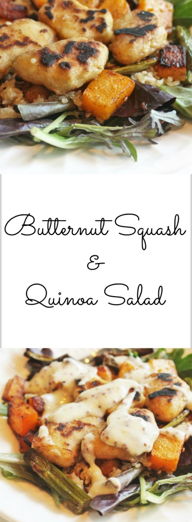 Butternut Squash & Quinoa Warm Summer Salad with Honey Mustard Dressing - 21 Day Fix approved, with vegetarian option!