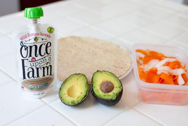 Healthy Veggie Wrap using Once Upon a Farm, helping toddlers enjoy whole fruits and veggies!
