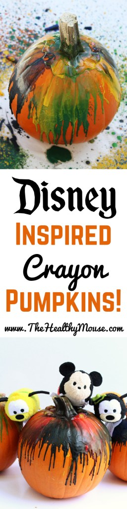 Disney Inspired Crayon pumpkins, the perfect family Halloween craft! A great way to decorate pumpkins that don't involve carving.