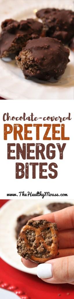 Chocolate Covered Pretzel Energy Bites - Gluten-free energy bites - Vegan energy bites