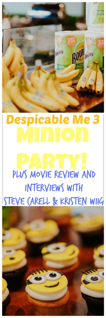 Despicable Me 3 Minion Party, Plus Despicable Me 3 movie review and Despicable Me 3 interviews with stars Steve Carell and Kristen Wiig