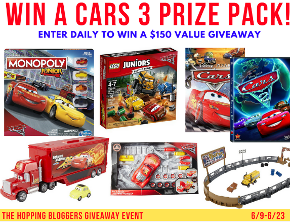Im So Excited To Be Participating In Another Great Disney Prize Pack Giveaway With The Hopping Bloggers This Time Its A Pixar Cars 3 Themed