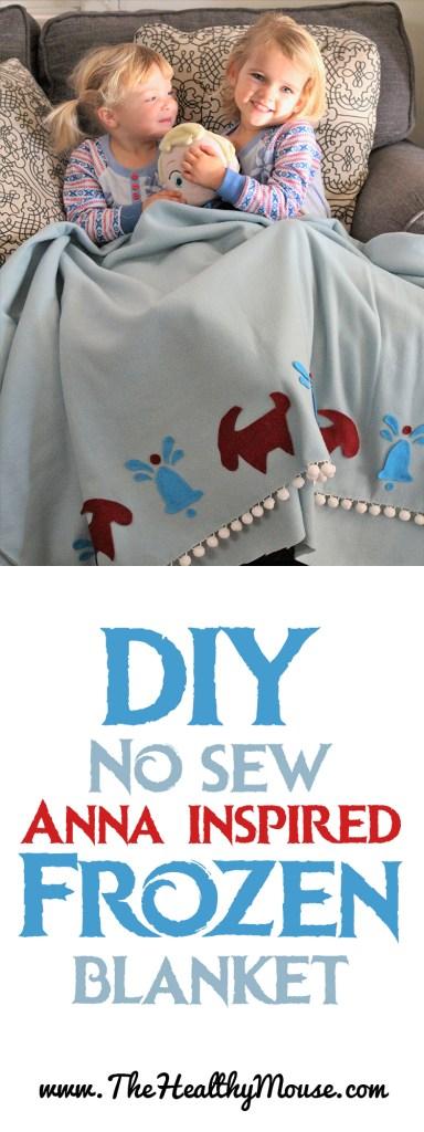 Olaf's Frozen Adventure inspired Anna blanket - Inspired by Frozen DIY No sew fleece blanket