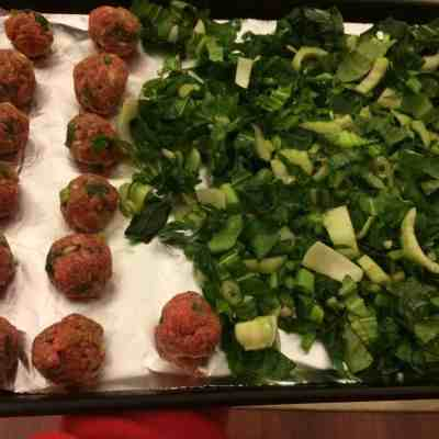 Asian Meatballs and Greens