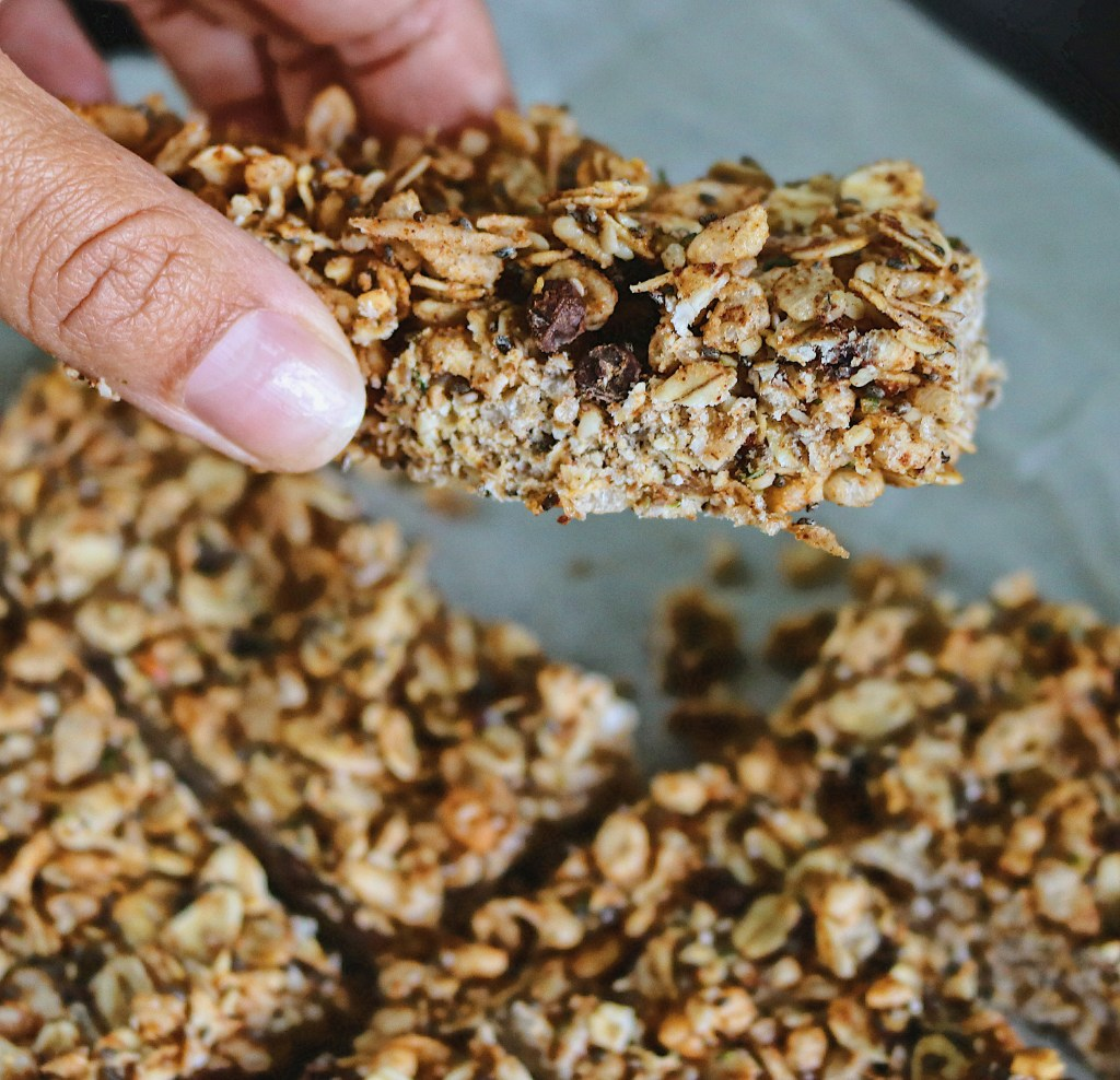 These easy no-bake granola bars are healthy, peanut free and gluten-free making them the perfect back-to-school snack for you or your kids.