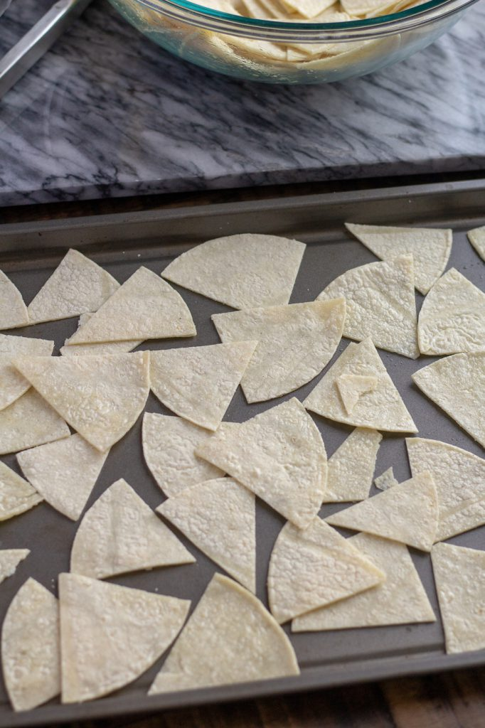 Tray of tortilla wedges