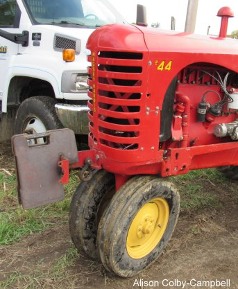 Here a weight is added to the front of the tractor